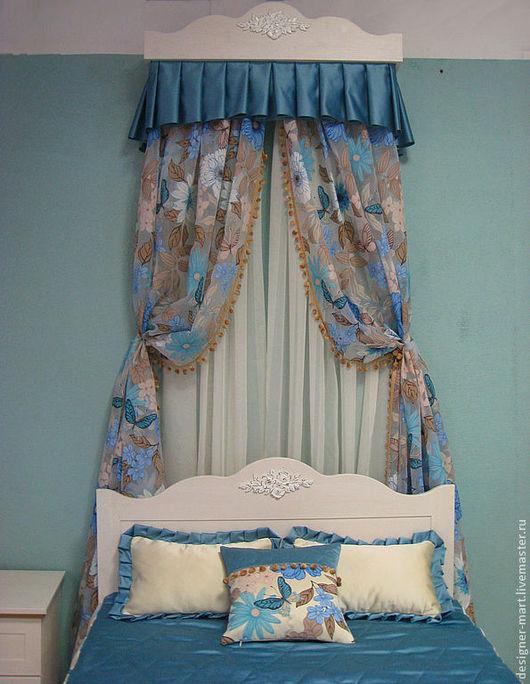 Текстиль, ковры ручной работы. Ярмарка Мастеров - ручная работа. Купить Балдахин и покрывало. Handmade. Тёмно-бирюзовый, органза