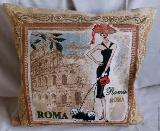 Текстиль, ковры ручной работы. Ярмарка Мастеров - ручная работа. Купить БАГЕТ РИМ: чехол гобеленовый на подушку, 45-45 см. Handmade.