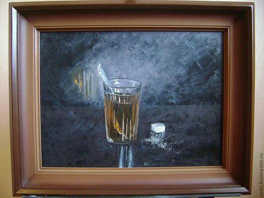 """Натюрморт ручной работы. Ярмарка Мастеров - ручная работа. Купить Картина маслом """"Чай"""". Handmade. Темно-серый, посуда"""