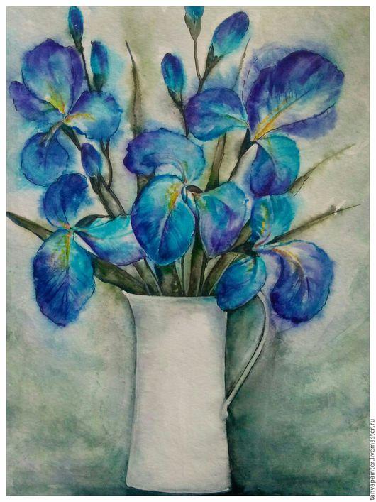 Картины цветов ручной работы. Ярмарка Мастеров - ручная работа. Купить Картина. Ирисы Акварель 30 -40. Handmade. Картина