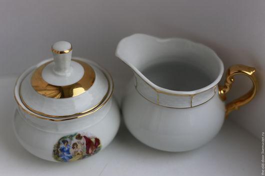 Винтажная посуда. Ярмарка Мастеров - ручная работа. Купить Молочник и сахарница, Чехословакия. Handmade. Белый, молочник, ретро