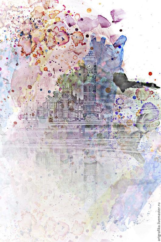 акварель Города мира Лондон