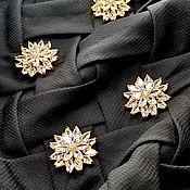 Материалы для творчества handmade. Livemaster - original item Buttons with Swarovski crystals. Flower. Handmade.