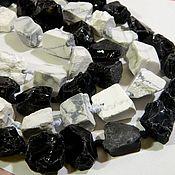 Материалы для творчества handmade. Livemaster - original item White opal, Obsidian beads friform. half of the thread. Handmade.
