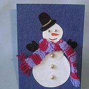 Открытки ручной работы. Ярмарка Мастеров - ручная работа Снеговик в шарфе. Handmade.