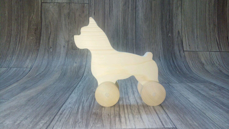 Собака-каталка (бостон-терьер) , деревянная игрушка ручной работы, Заготовки для декупажа и росписи, Реутов,  Фото №1
