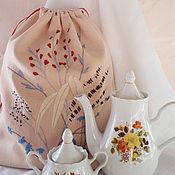 Для дома и интерьера ручной работы. Ярмарка Мастеров - ручная работа Мешочек льняной с вышивкой. Handmade.
