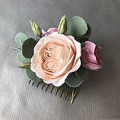 Свадебный салон handmade. Livemaster - original item Hair comb with roses and eucalyptus. Handmade.