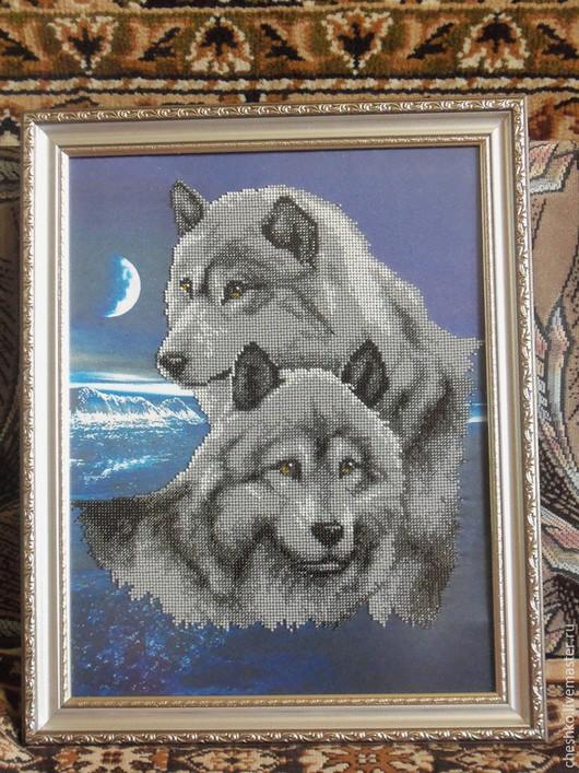 """Животные ручной работы. Ярмарка Мастеров - ручная работа. Купить Вышитая картина бисером""""Волки"""". Handmade. Вышивка, Вышивка крестом"""