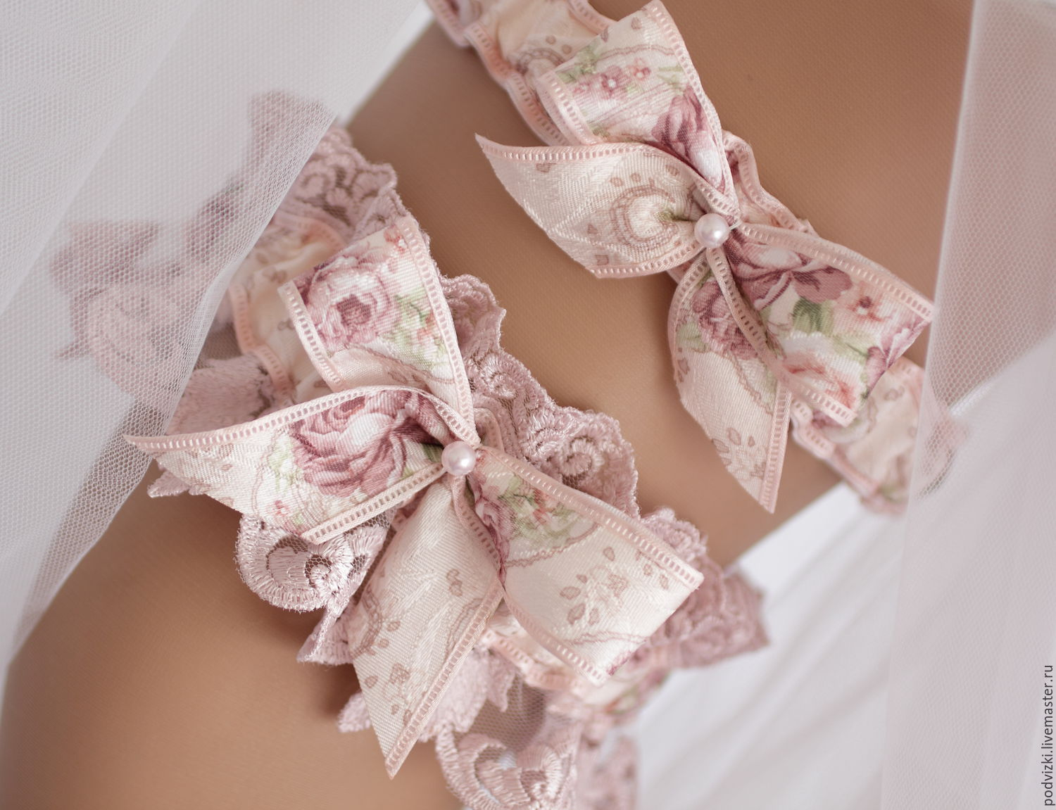 Garter for wedding bride -a Set of 'Lace', Garter, Moscow,  Фото №1