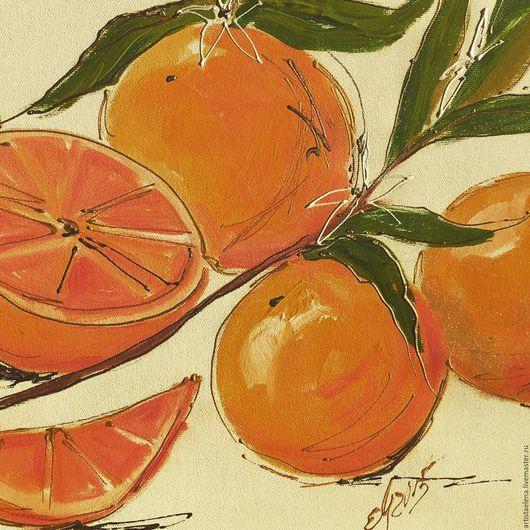 Натюрморт ручной работы. Ярмарка Мастеров - ручная работа. Купить Итальянские Апельсины. Handmade. Рыжий, красиво, картина, картина для интерьера