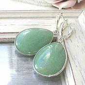 Украшения handmade. Livemaster - original item Earrings large green aventurine silver, big stones natural. Handmade.