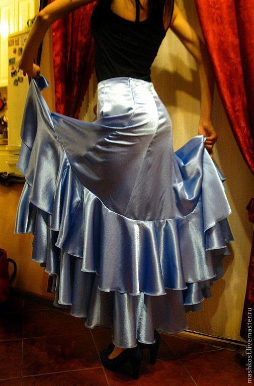 Танцевальные костюмы ручной работы. Ярмарка Мастеров - ручная работа. Купить юбка для фламенко. Handmade. Голубой, воланы