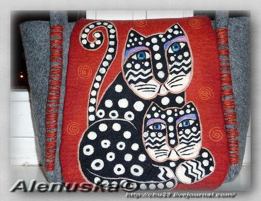 Женские сумки ручной работы. Ярмарка Мастеров - ручная работа. Купить Сумка Polka Dot cats (коты в горошек). Handmade.