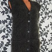 Одежда ручной работы. Ярмарка Мастеров - ручная работа Жилет пуховый удлиненный женский. Handmade.