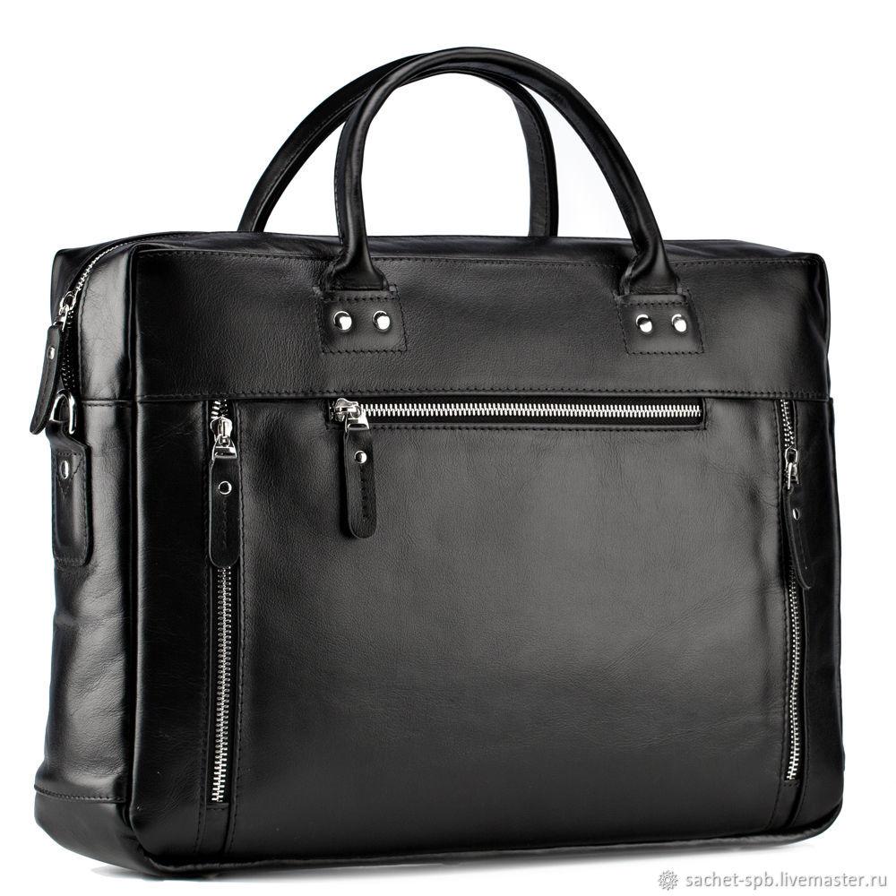 Leather business bag 'Spencer' (black), Classic Bag, St. Petersburg,  Фото №1