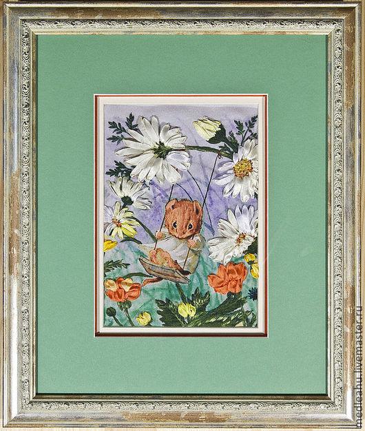 Картины цветов ручной работы. Ярмарка Мастеров - ручная работа. Купить Картина вышитая лентами и гладью. Handmade. Вышивка лентамии