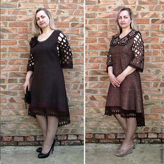 Платья ручной работы. Ярмарка Мастеров - ручная работа. Купить Валяное платье Дуэт.. Handmade. Однотонный, Шёлк 100%