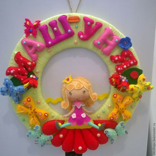 Детская ручной работы. Ярмарка Мастеров - ручная работа. Купить Панно из фетра для девочки. Handmade. Панно, бабочки, декор стен