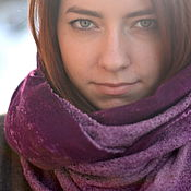 Шарф снуд, шарф-труба фиолетовый пурпур  весенний