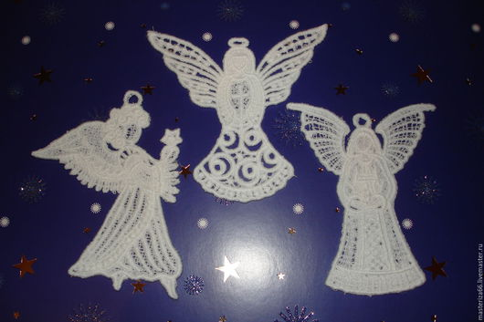 """Новый год 2017 ручной работы. Ярмарка Мастеров - ручная работа. Купить Кружевные """"Рождественские ангелы"""". Handmade. Белый, рождественский ангел"""