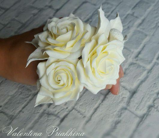 Заколки ручной работы. Ярмарка Мастеров - ручная работа. Купить Шпильки с белыми розами. Handmade. Шпильки, розы ручной работы