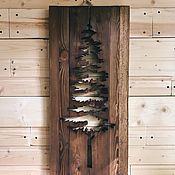 Картины и панно handmade. Livemaster - original item Wooden panel pine wood painting. Handmade.