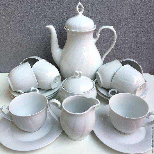Винтажная посуда. Ярмарка Мастеров - ручная работа. Купить Белый чайный сервиз на 8 персон Burg Lindau. Handmade. Белый