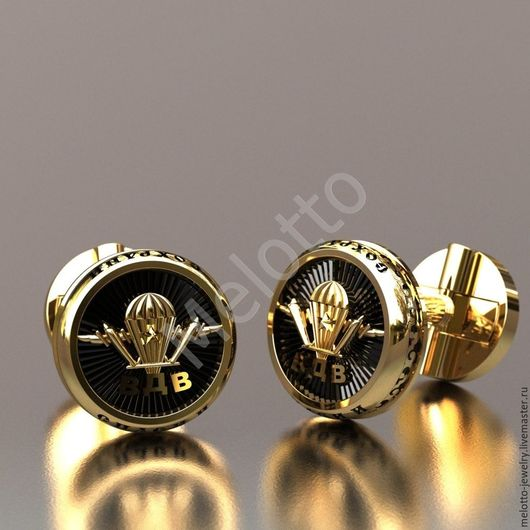 Подарки для мужчин, ручной работы. Ярмарка Мастеров - ручная работа. Купить Запонки из золота с эмблемой ВДВ. Handmade. Золотой
