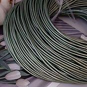 Материалы для творчества handmade. Livemaster - original item 1 m Cord leather 2 mm light green mother-of-pearl (746-ZEL). Handmade.