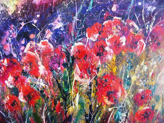 Картины цветов ручной работы. Ярмарка Мастеров - ручная работа. Купить Красные цветы - картина маслом на холсте, картины цветов, абстракция. Handmade.