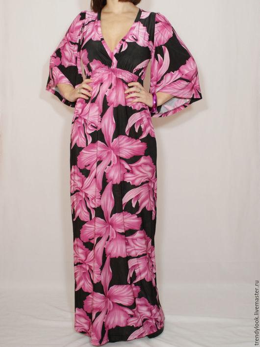 Платья ручной работы. Ярмарка Мастеров - ручная работа. Купить Черное платье,Платье кимоно Длинное платье, цветочный принт. Handmade.