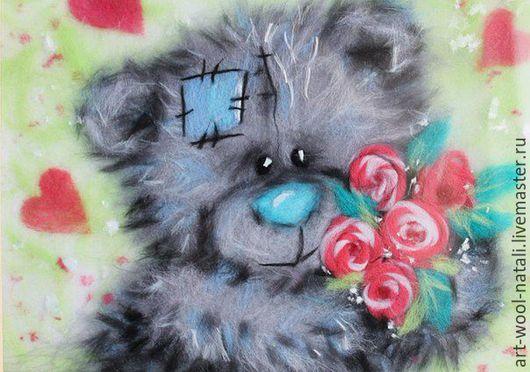 """Животные ручной работы. Ярмарка Мастеров - ручная работа. Купить картина из шерсти """"Тедди"""". Handmade. Серый, сердце, картина в подарок"""