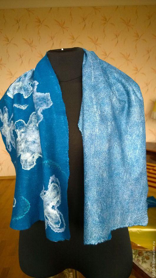 """Шарфы и шарфики ручной работы. Ярмарка Мастеров - ручная работа. Купить Валяный шарф """"Зимние цветы"""". Handmade. Синий, Валяние"""