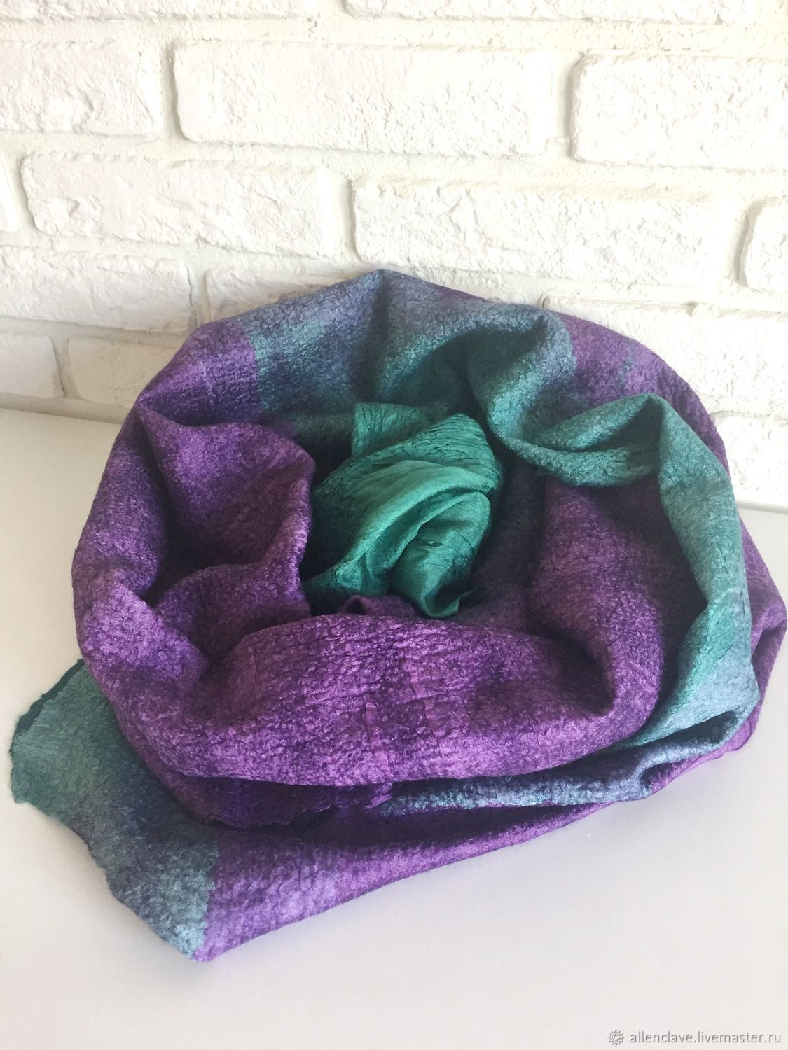 Scarf felted emerald-purple, Scarves, Barnaul,  Фото №1