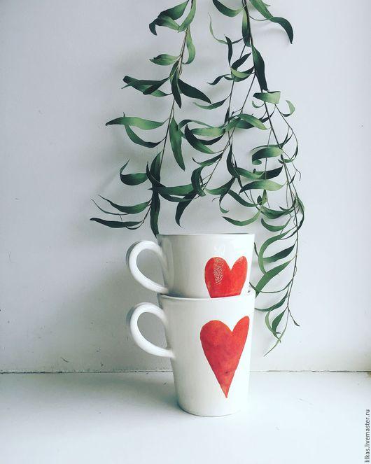 """Кружки и чашки ручной работы. Ярмарка Мастеров - ручная работа. Купить """"С любовью...."""". Handmade. Комбинированный, Керамика, глазурь"""