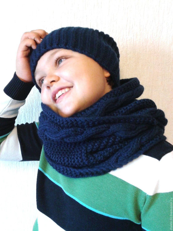 aa09726d6ee0 Мужской вязаный комплект шапка и шарф хомут – купить в интернет-магазине на  ...
