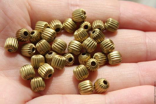 Для украшений ручной работы. Ярмарка Мастеров - ручная работа. Купить Бусины латунные, рифленые, 6 мм. Handmade.