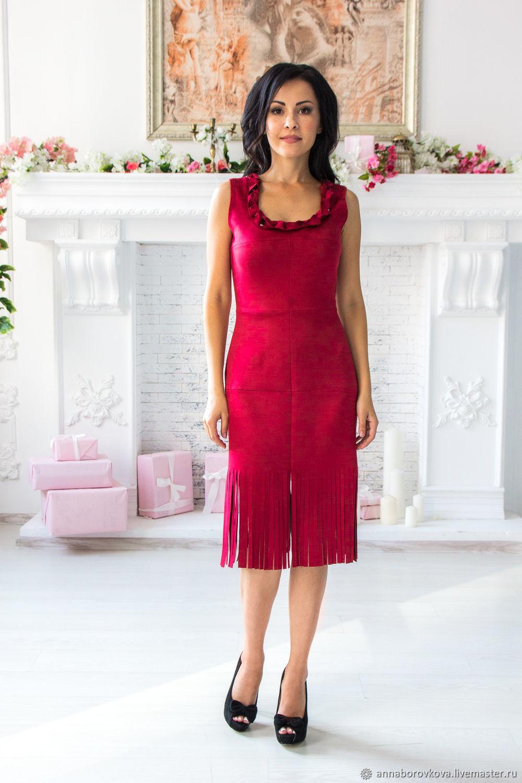 97ecd355f92 «Марсала» - красное платье-футляр из замши. Anna Платья ручной работы.