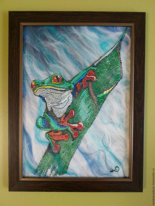 Животные ручной работы. Ярмарка Мастеров - ручная работа. Купить Точечная роспись по стеклу Лягушка на листе 25 х 35 см.. Handmade.