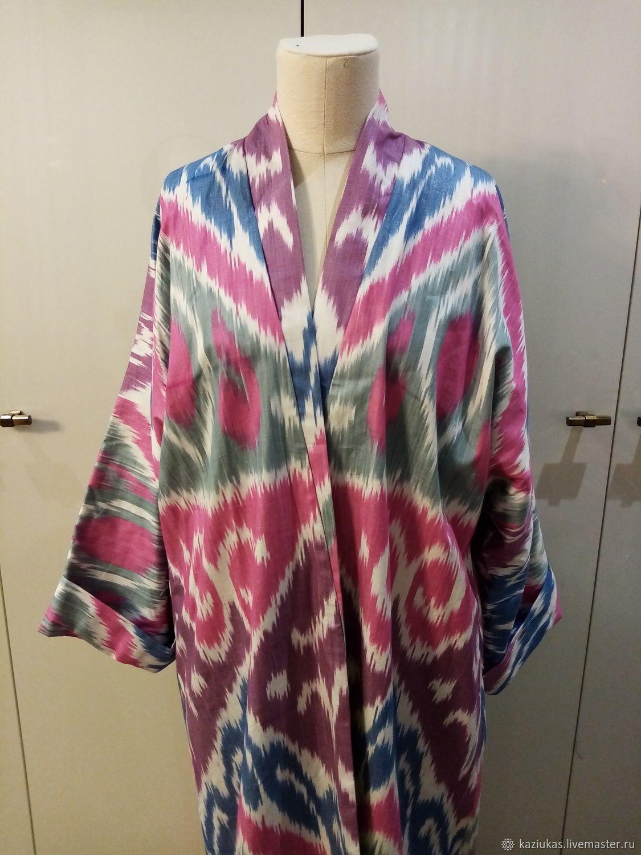 Uzbek cotton robe made of ikat. Boho coat, caftan, Robes, Odintsovo,  Фото №1