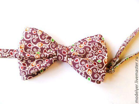 Галстуки, бабочки ручной работы. Ярмарка Мастеров - ручная работа. Купить Бабочка -галстук хлопок лен. Handmade. Орнамент, бабочка