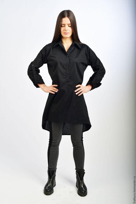 """Блузки ручной работы. Ярмарка Мастеров - ручная работа. Купить Рубашка """"Black Spirit"""" B0058. Handmade. Черный, хлопковая рубашка"""