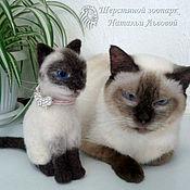 Куклы и игрушки handmade. Livemaster - original item Portrait of SIMA cat, kitten, kitty, cat – miniature wool / Cat. Handmade.