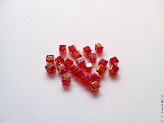 Для украшений ручной работы. Ярмарка Мастеров - ручная работа. Купить Бусина куб темно-красный, 3 мм (10шт). Handmade.