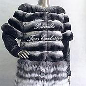 Одежда ручной работы. Ярмарка Мастеров - ручная работа Жакет трансформер из экстра темной шиншиллы.. Handmade.