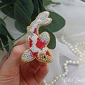 Украшения handmade. Livemaster - original item Brooch fish koi carp embroidered with beads. Handmade.