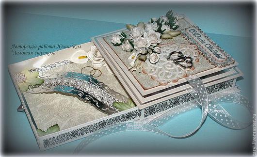 """Свадебные открытки ручной работы. Ярмарка Мастеров - ручная работа. Купить Свадебная открытка-коробочка""""Свадебные цветы"""". Handmade. Белый, для молодоженов"""