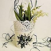 Цветы и флористика ручной работы. Ярмарка Мастеров - ручная работа Кашпо Ландыши. Handmade.