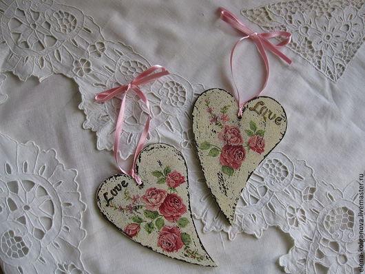 """Подарки для влюбленных ручной работы. Ярмарка Мастеров - ручная работа. Купить Набор сердечек для подарка """"Винтажная роза"""". Handmade. Сердечки"""